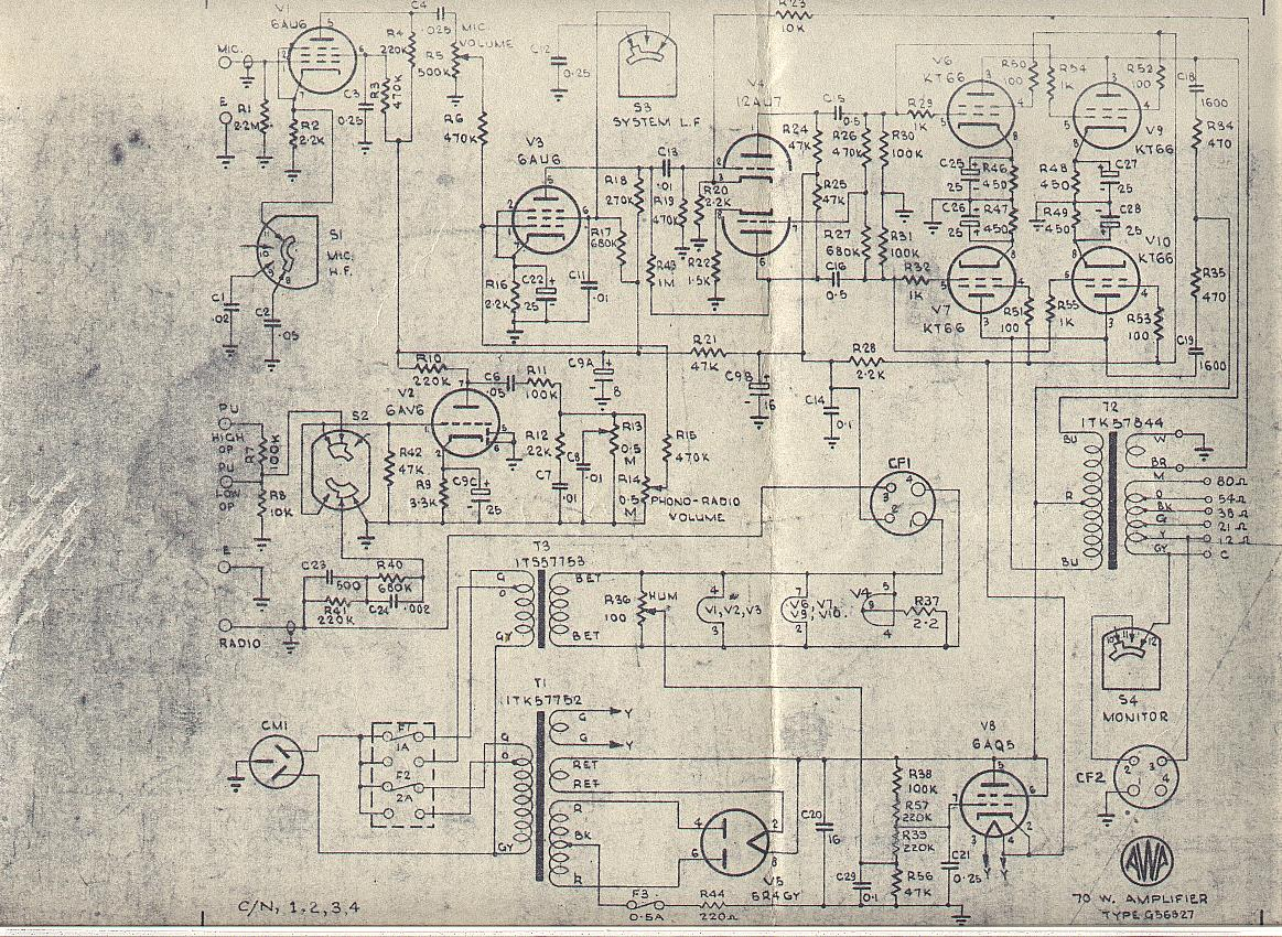 Links The Original Williamson Hifi Amplifier Schematic As Published In 70w Rms Awa Model G56827