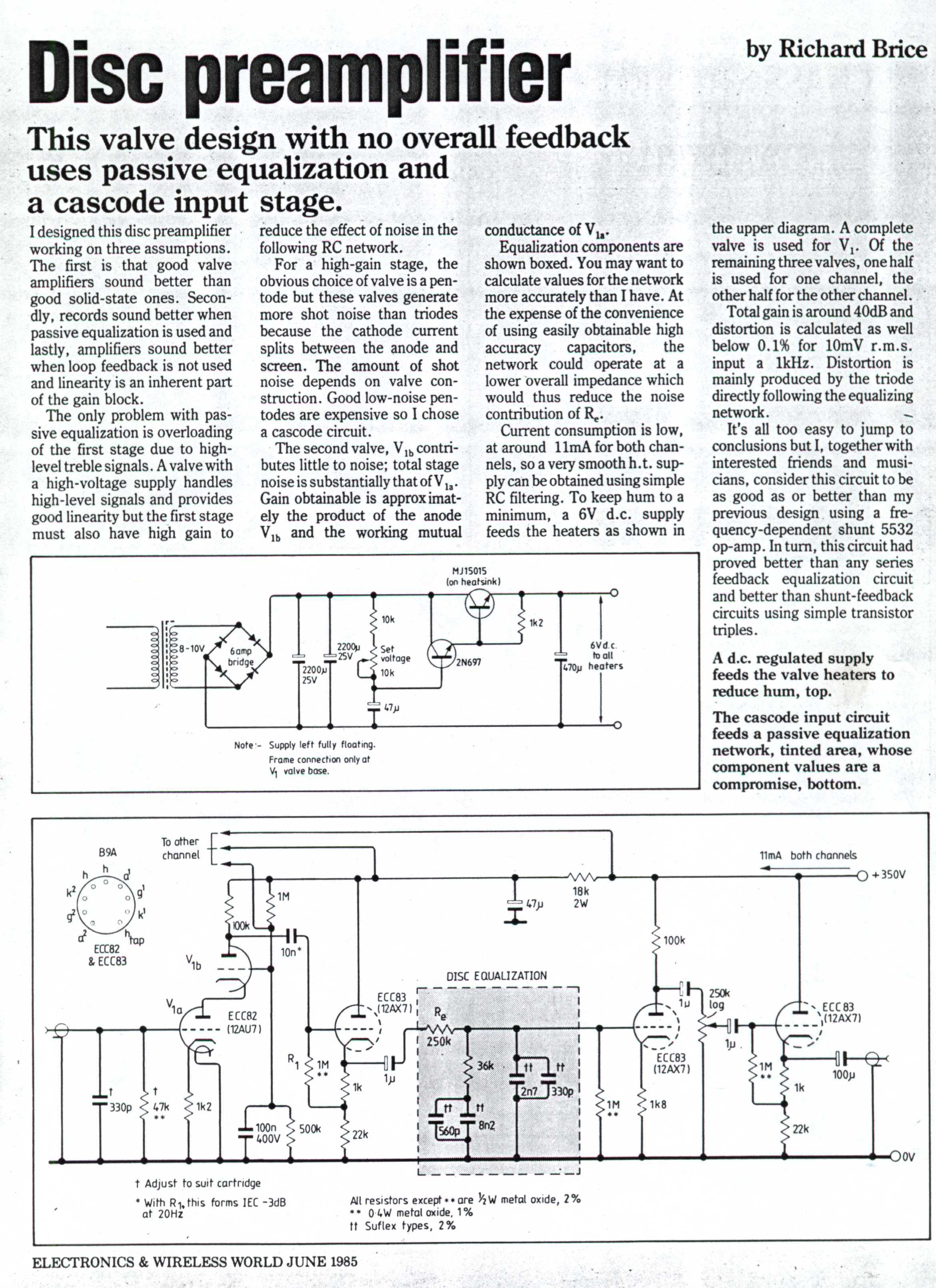 Preamp Passive Baxandall Tone Control 2 Band Equalizer Circuit Schematic Phono Equaliser Pre Amplifier Richard Brice Design Courtesy Electronics World Magazine 1985