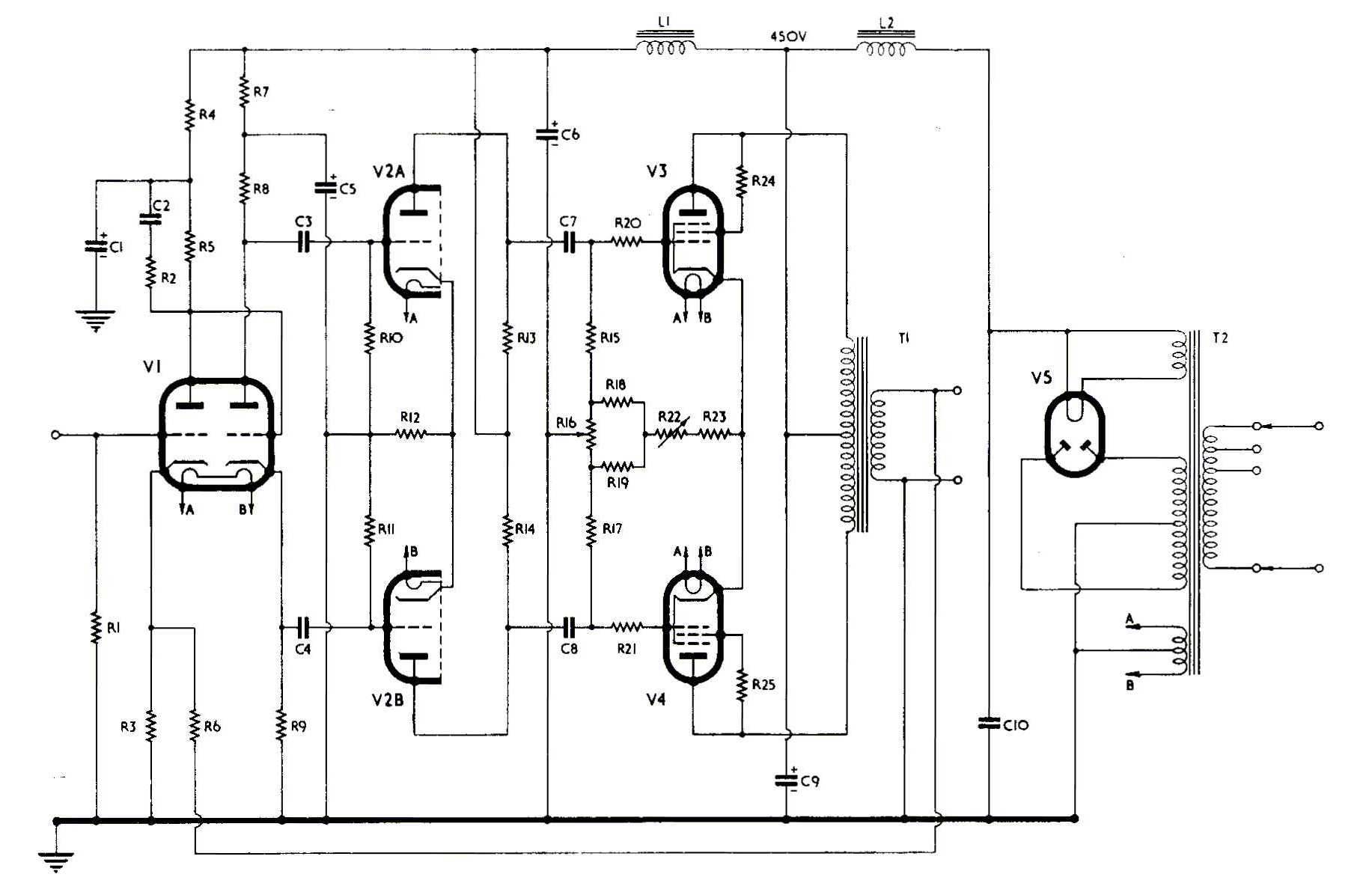 Tubes In Addition Push Pull Tube Schematic On 6sn7 Amplifier Parts List For The Above